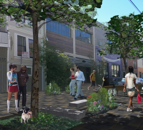 Rendering of proposed street improvements to Linden